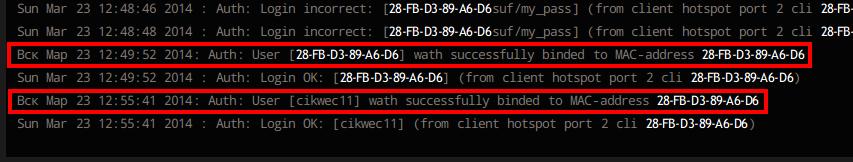 Сообщения об автоматической привязке ваучеров к mac-адресам