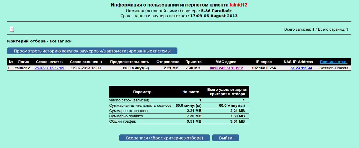 Кабинет для ваучера (отображаются номинал ваучера (Тарифного пакета) и дата окончания обслуживания)